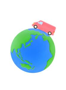 ピンクのバンと地球の写真素材 [FYI01789967]
