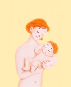 母親に抱かれる赤ちゃんのイラスト素材 [FYI01789968]