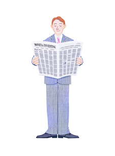 新聞を読むビジネスマンのイラスト素材 [FYI01789969]