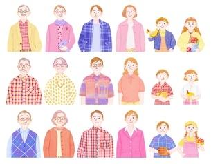 3組の3世代家族のイラスト素材 [FYI01789988]
