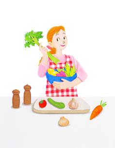キッチンの若い女性のイラスト素材 [FYI01789989]