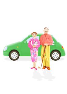老夫婦と車の写真素材 [FYI01790002]