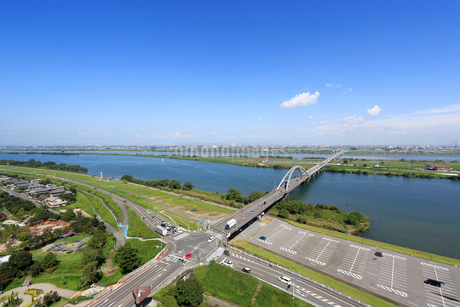 長良川と輪中の風景の写真素材 [FYI01790808]