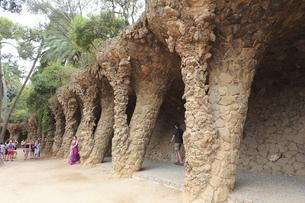 グエル公園の回廊の写真素材 [FYI01791237]