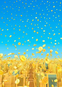 ビルの街とコイン、金のイラスト素材 [FYI01791990]