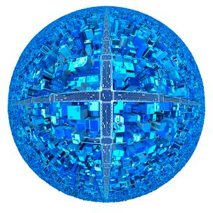 ビルの街、青のイラスト素材 [FYI01792011]