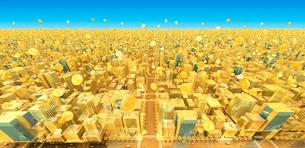 ビルの街とコイン、金のイラスト素材 [FYI01792187]