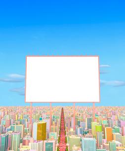 ビルの街と看板、パステルのイラスト素材 [FYI01792432]