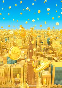 ビルの街とコイン、金のイラスト素材 [FYI01792579]