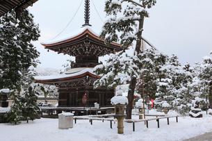 天橋立 雪景色の智恩寺 多宝塔の写真素材 [FYI01792852]