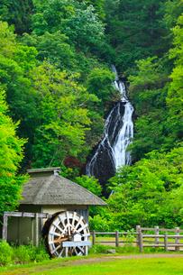 七滝と水車小屋に新緑の写真素材 [FYI01793049]