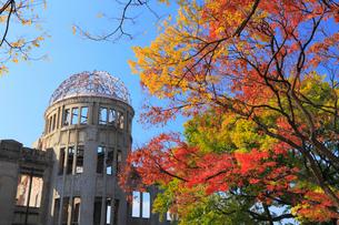 平和記念公園の紅葉と原爆ドームの写真素材 [FYI01793533]