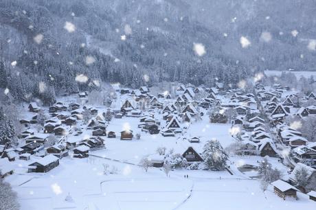 天守閣展望台から望む雪景色の白川郷の写真素材 [FYI01795048]