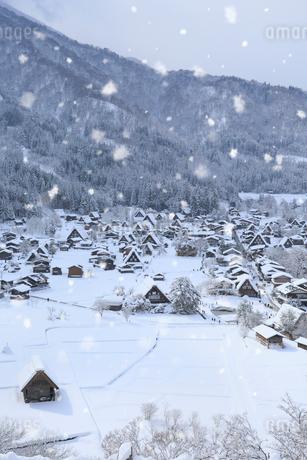 天守閣展望台から望む雪景色の白川郷の写真素材 [FYI01795205]