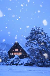 雪景色の白川郷・和田家の夜景の写真素材 [FYI01795863]
