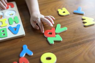 アルファベットのパズルを持つ子供の手の写真素材 [FYI01795976]