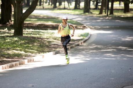 公園でジョギングする女性の写真素材 [FYI01796054]