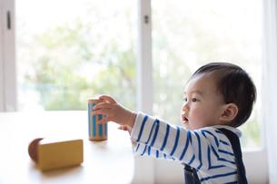 リビングルームで遊ぶ赤ちゃんの写真素材 [FYI01796373]