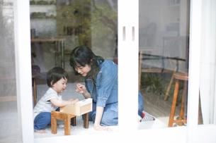 日当たりの良いリビングルームで遊ぶ親子の写真素材 [FYI01796431]