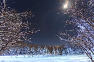 月夜に輝く青い池の写真素材 [FYI01796505]