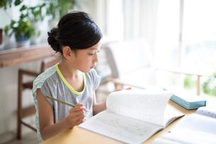 リビングで勉強をする女の子の写真素材 [FYI01796786]