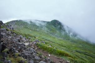 霧が霞んで幻想的な鳥海山風景の写真素材 [FYI01797255]