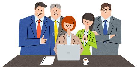 良い成果に集まる同僚たちのイラスト素材 [FYI01798102]