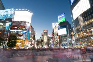 渋谷スクランブル交差点の夕景の写真素材 [FYI01798166]