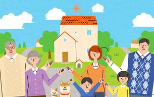 家族とマイホームのイラスト素材 [FYI01798289]