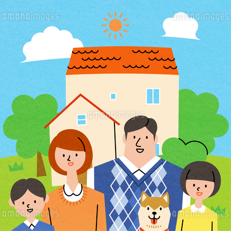 家族とマイホームのイラスト素材 [FYI01798376]
