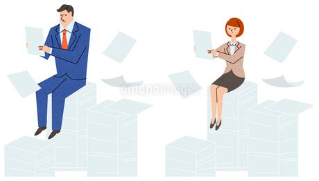 書類の山にすわるビジネスマンのイラスト素材 [FYI01798426]
