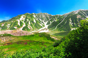 室堂平より血の池と残雪の立山連峰・別山に真砂岳の写真素材 [FYI01798666]