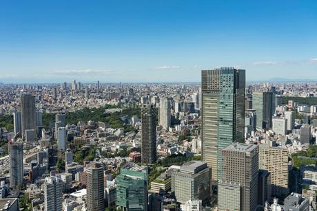 六本木ヒルズより東京ミッドタウンを望むの写真素材 [FYI01798682]