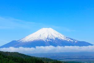 二十曲峠より残雪の富士山の写真素材 [FYI01798704]