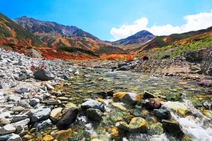秋の立山連峰・雄山と浄土山に称名川源流の浄土沢の写真素材 [FYI01798790]