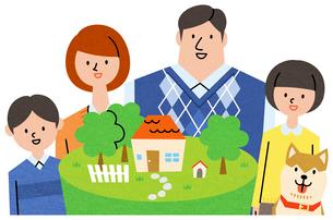 家族とマイホームのイラスト素材 [FYI01798889]