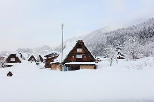冬の白川郷・合掌造り集落に降雪の写真素材 [FYI01799122]