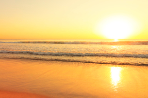 浜辺に寄せる波に朝日の写真素材 [FYI01799225]
