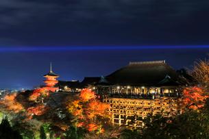 秋の清水寺・紅葉のライトアップに京都の街明かりの写真素材 [FYI01799279]