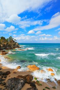 浦富海岸に寄せる波の写真素材 [FYI01799334]
