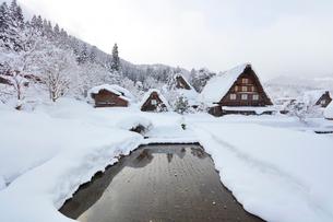 小雪舞う冬の白川郷の写真素材 [FYI01799344]