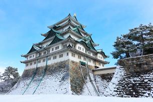 小雪舞う冬の名古屋城天守閣の写真素材 [FYI01799371]