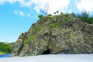 小笠原諸島父島・小港海岸の枕状溶岩の写真素材 [FYI01799384]