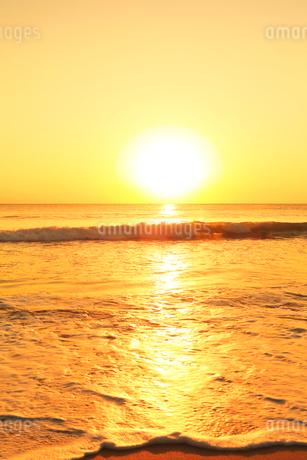 浜辺に寄せる波に朝日の写真素材 [FYI01799435]