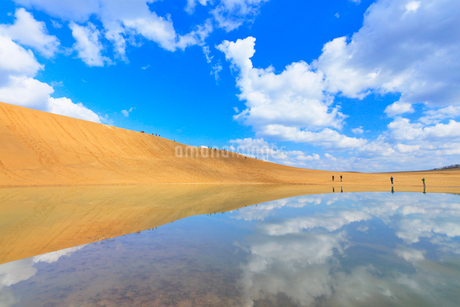 鳥取砂丘・池に映る空と雲の写真素材 [FYI01799559]