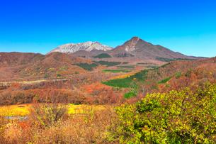 鬼女台より望む紅葉の大山と烏ヶ山の写真素材 [FYI01799568]