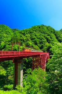 黒部峡谷鉄道・トロッコ電車と快晴の空の写真素材 [FYI01799595]
