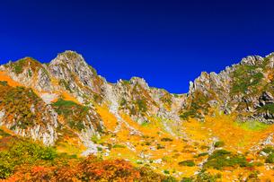 秋の中央アルプス・千畳敷カールの紅葉と快晴の空の写真素材 [FYI01799756]