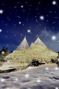 冬の北陸金沢 兼六園に降雪ライトアップ 冬の段の写真素材 [FYI01799846]