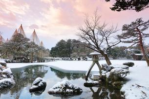 雪化粧の金沢兼六園に朝焼け空の写真素材 [FYI01799905]